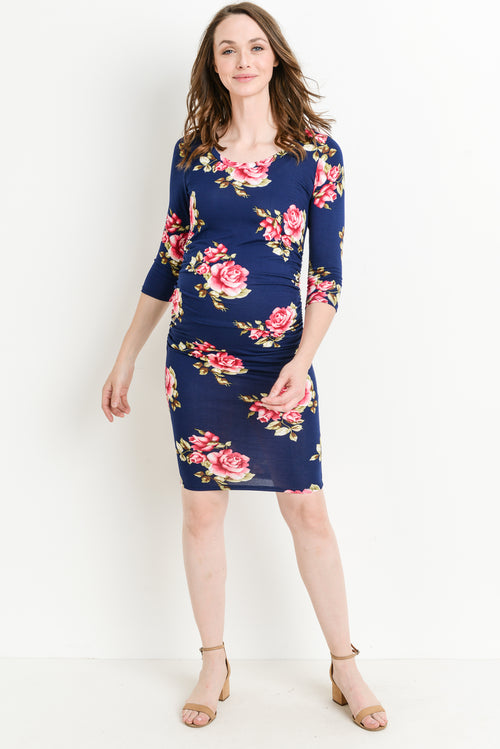 Floral 3/4 Sleeve Round Neck Ruched Maternity Dress