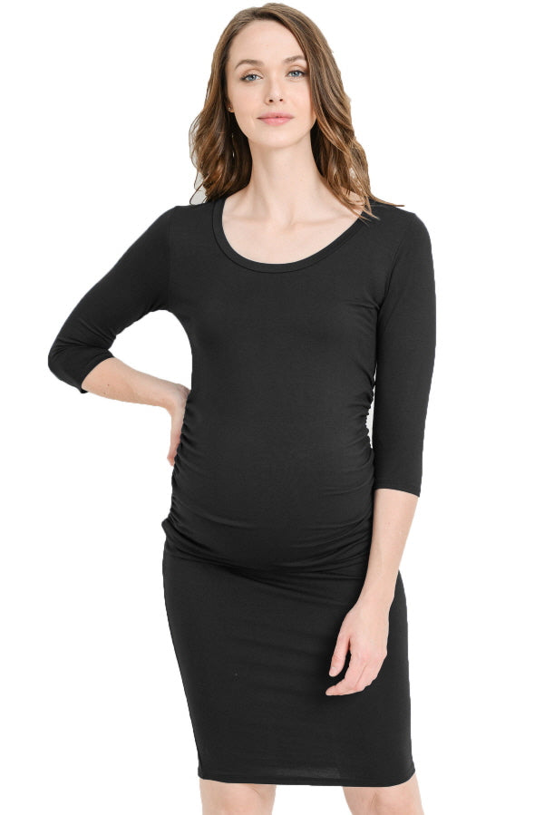 Round Neck Ruched Maternity Dress