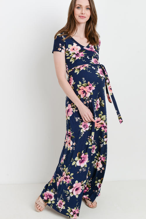 9db68c80411 Floral Short Sleeve Maternity Maxi Dress