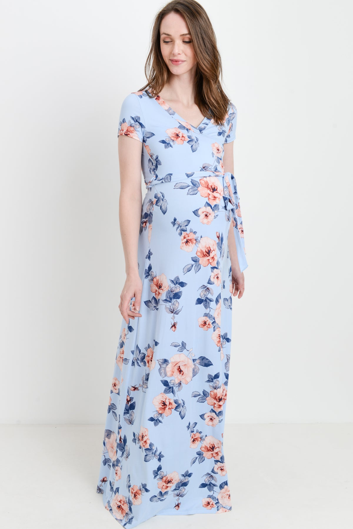 Floral Short Sleeve Maternity Maxi Dress