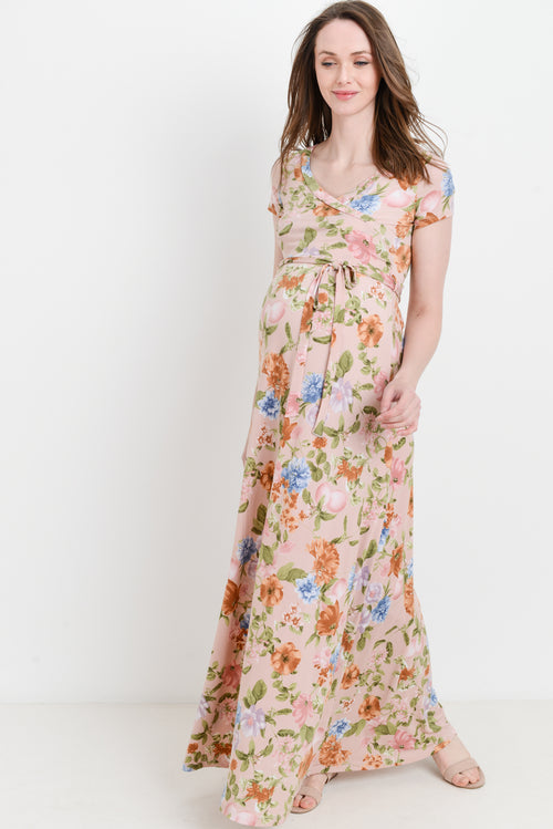 Floral Short Sleeve Maternity & Nursing Maxi Dress