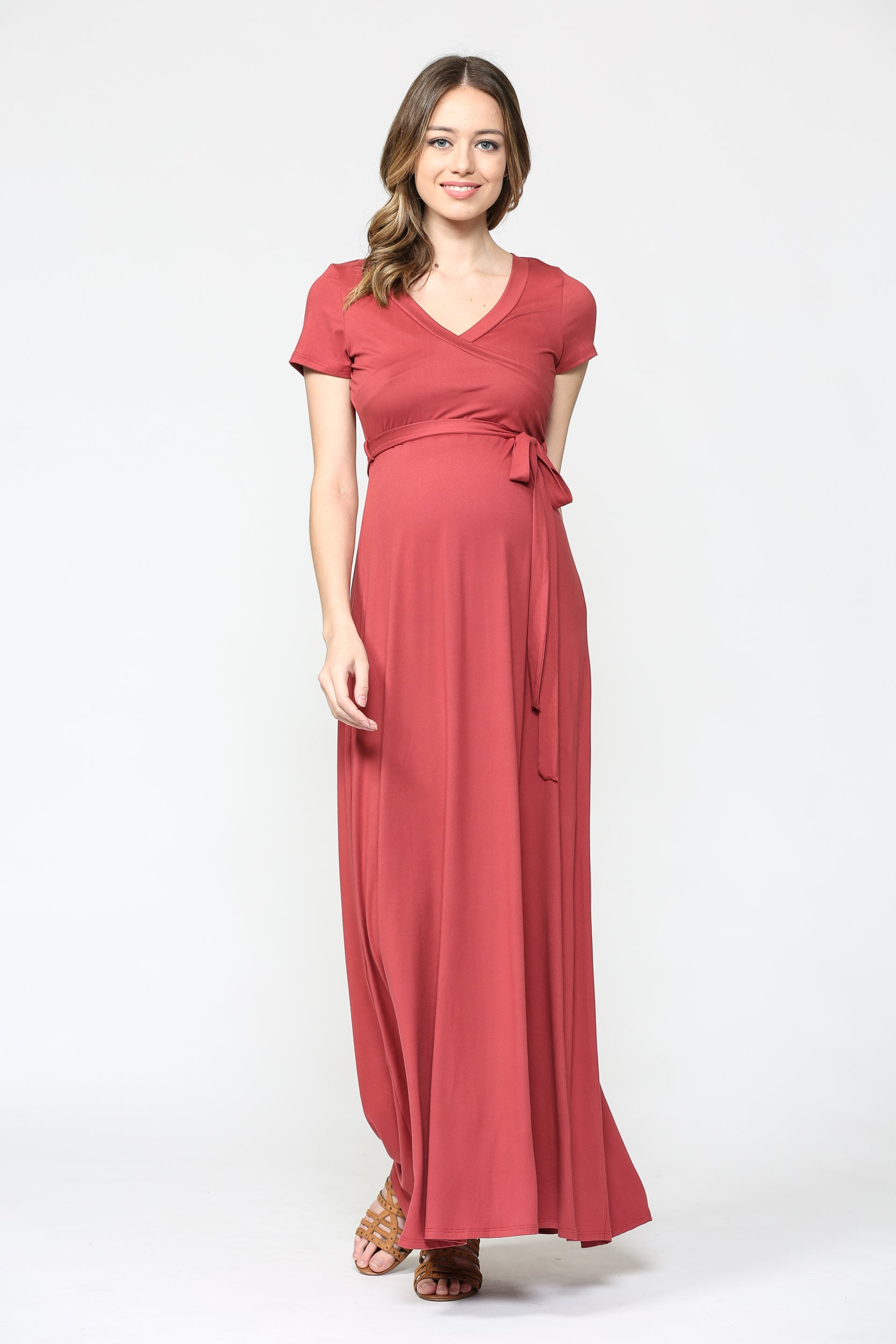 Solid Short Sleeve Maternity Maxi Wrap Dress