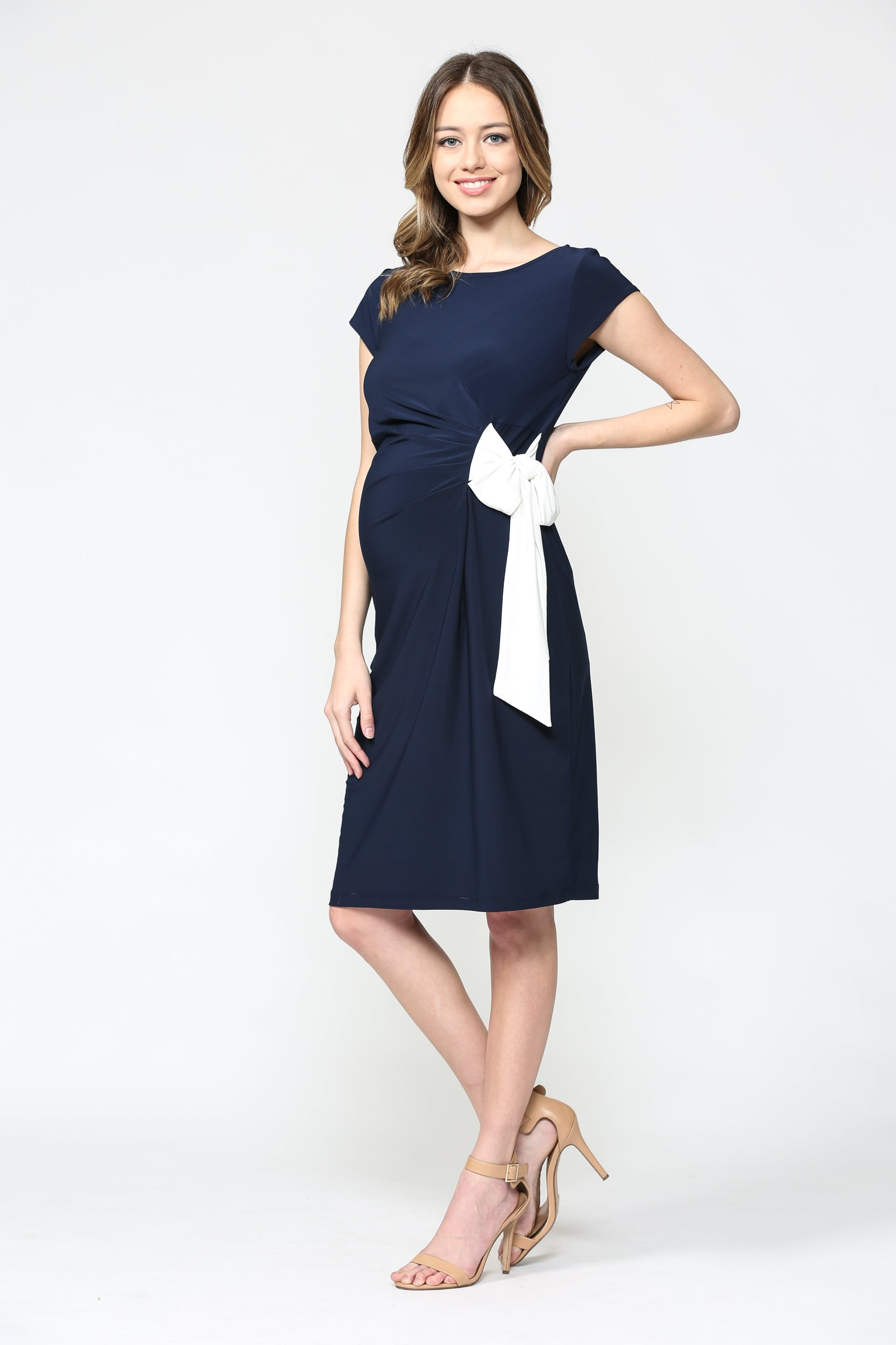 Boat Neck Side Tie Maternity Dress