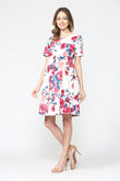 Floral Front Pleat Maternity Swing Dress