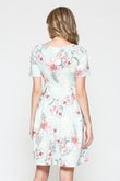 Floral Front Pleat Round Neck Maternity Swing Dress