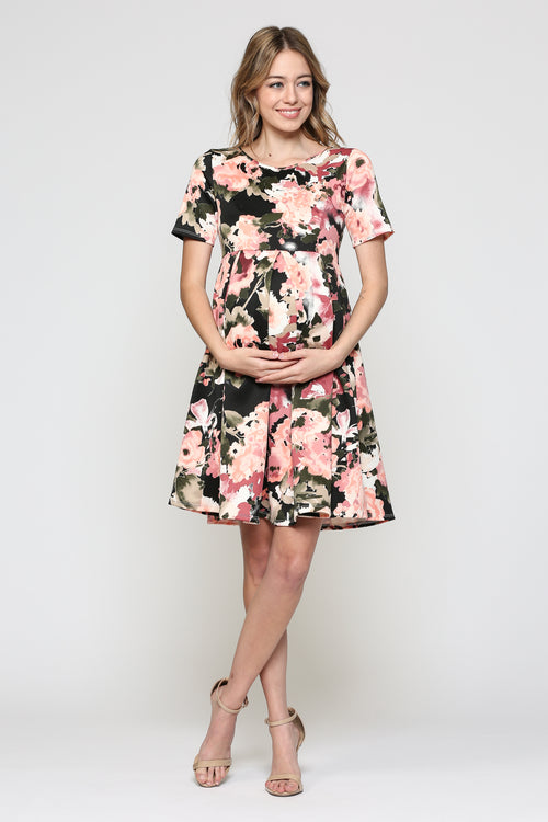 43ee909e85d4 Front Pleat Round Neck Maternity Swing Dress