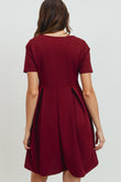 Front Pleat Round Neck Maternity Swing Dress