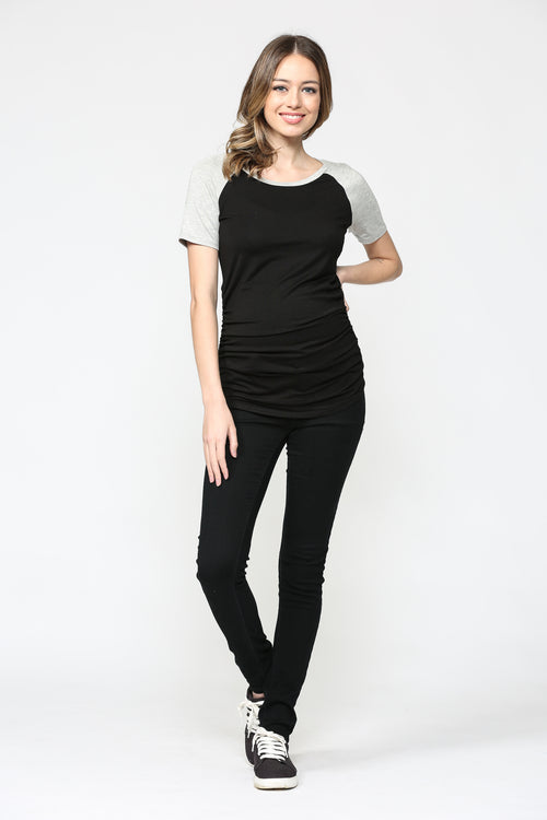 Solid Baseball Tee Raglan Maternity Top