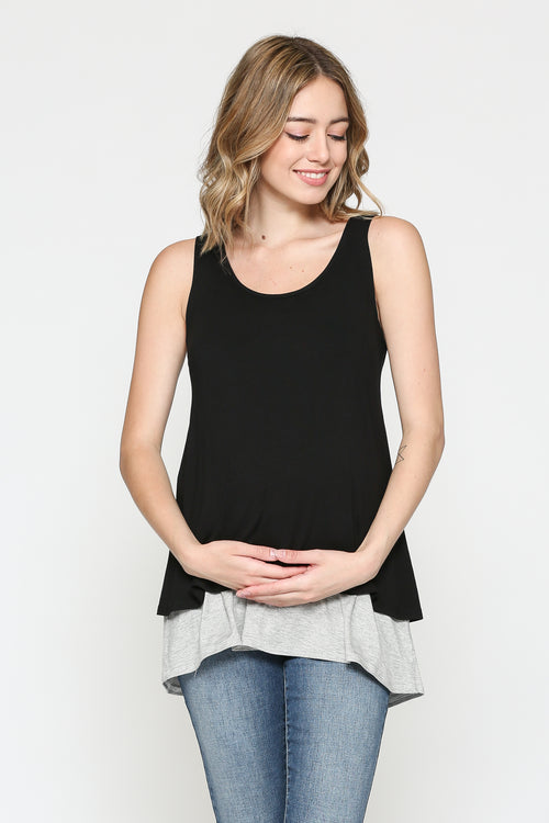 Color Block Sleeveless Maternity/Nursing Tunic
