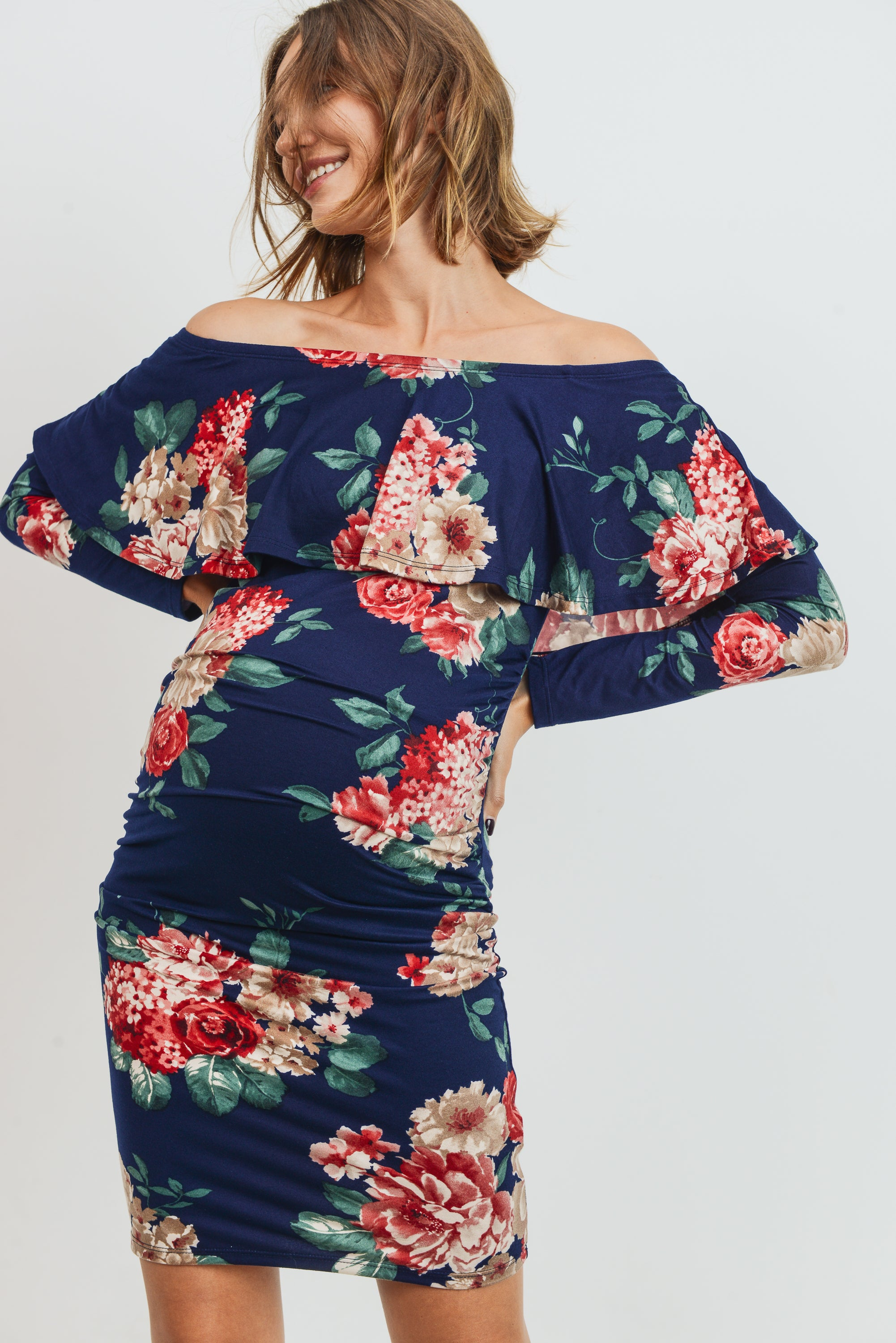 Navy Floral Long Sleeve Off Shoulder Maternity Dress