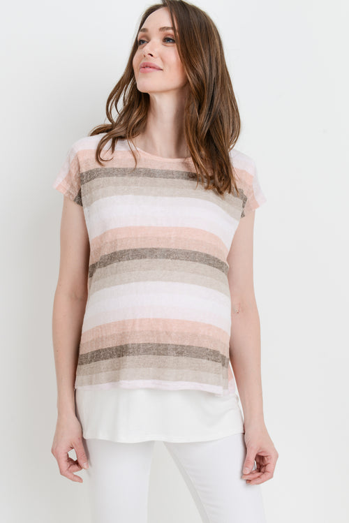 Stripe Round Neck Maternity/Nursing Top