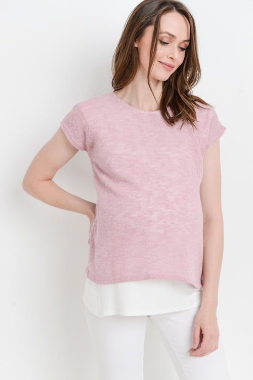 Layered Round Neck Maternity/Nursing Top