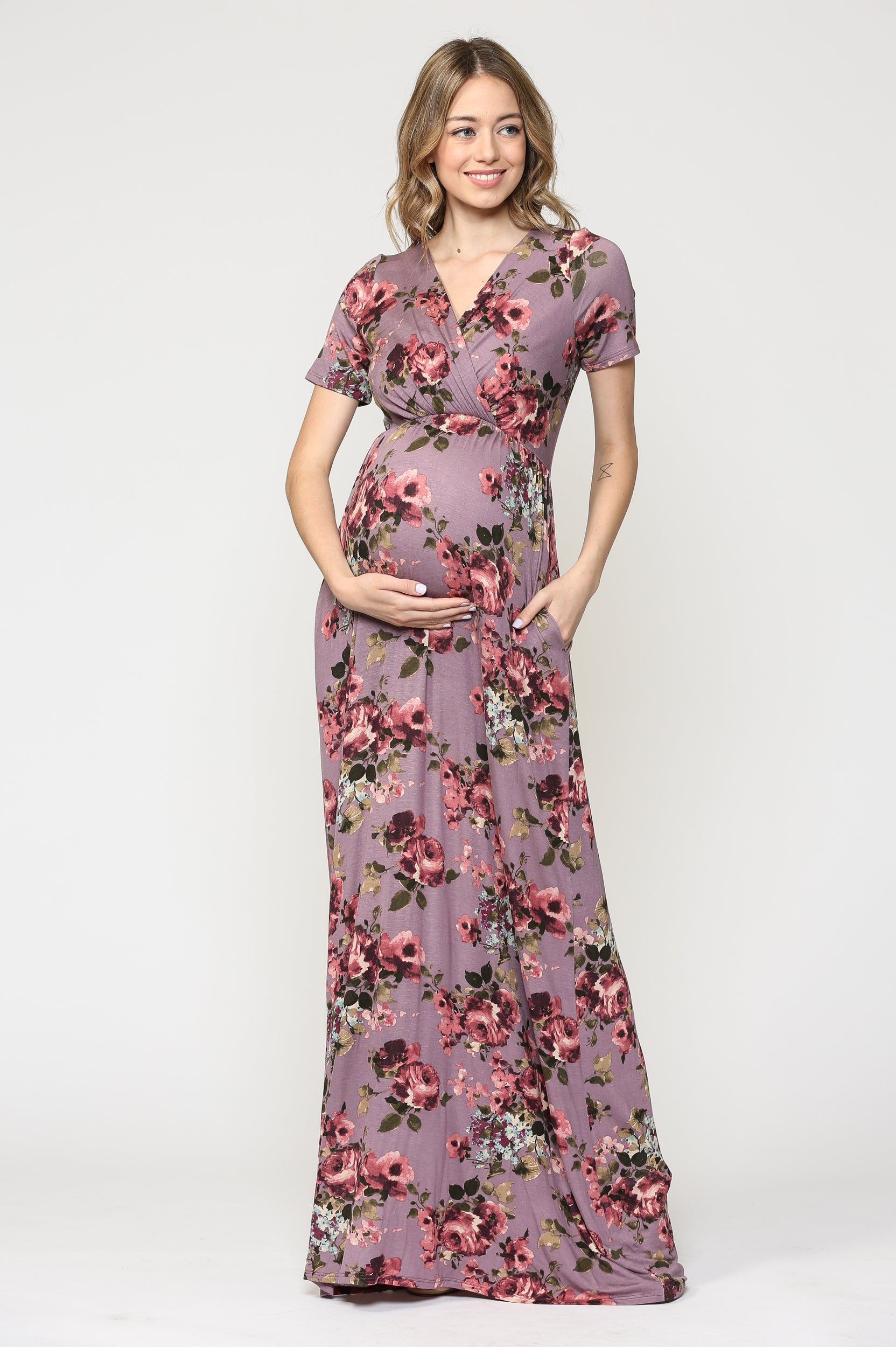 Floral Short Sleeve Pocket Maternity/Nursing Maxi Dress