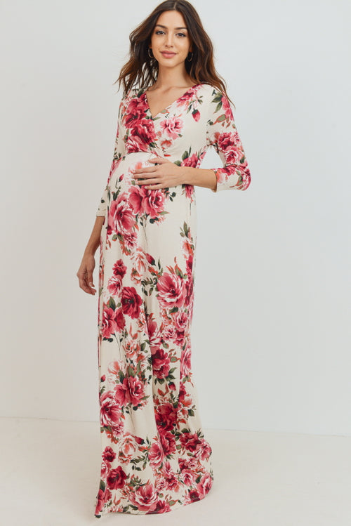 Cream Floral Maternity/Nursing Maxi Pocket Dress