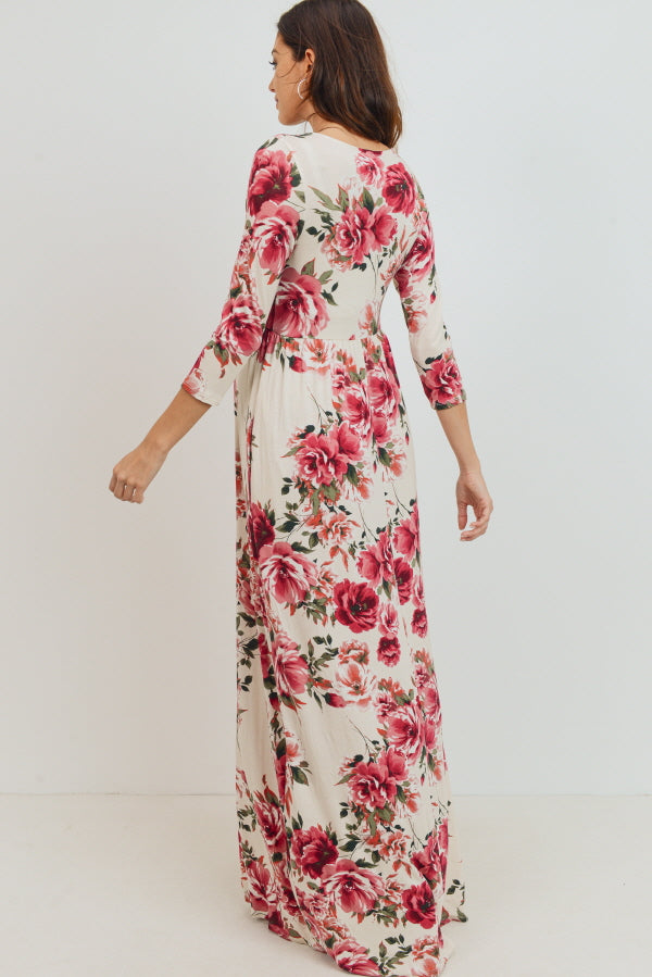 Cream Floral Maternity/Nursing Maxi Dress