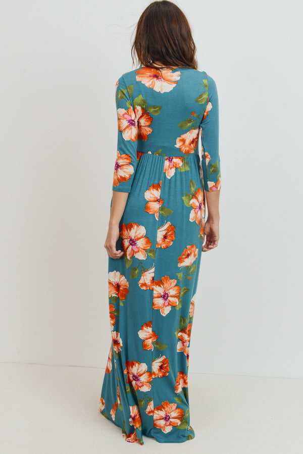 Floral Long Sleeve Maternity/Nursing Maxi Pocket Dress