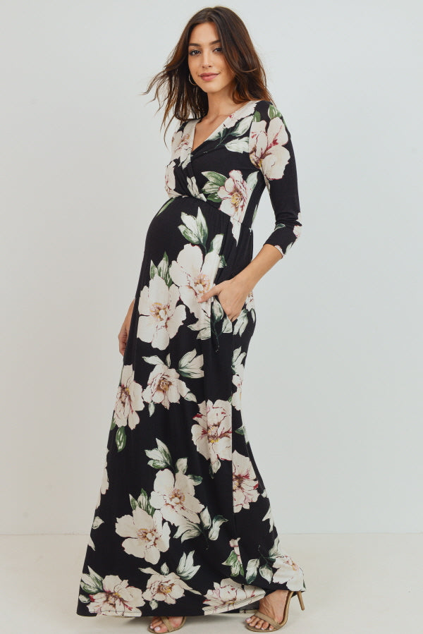 Black Floral Maternity/Nursing Maxi Pocket Dress