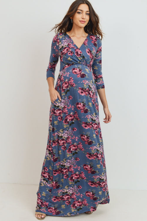 Floral 3/4 Sleeve Maternity/Nursing Maxi Dress