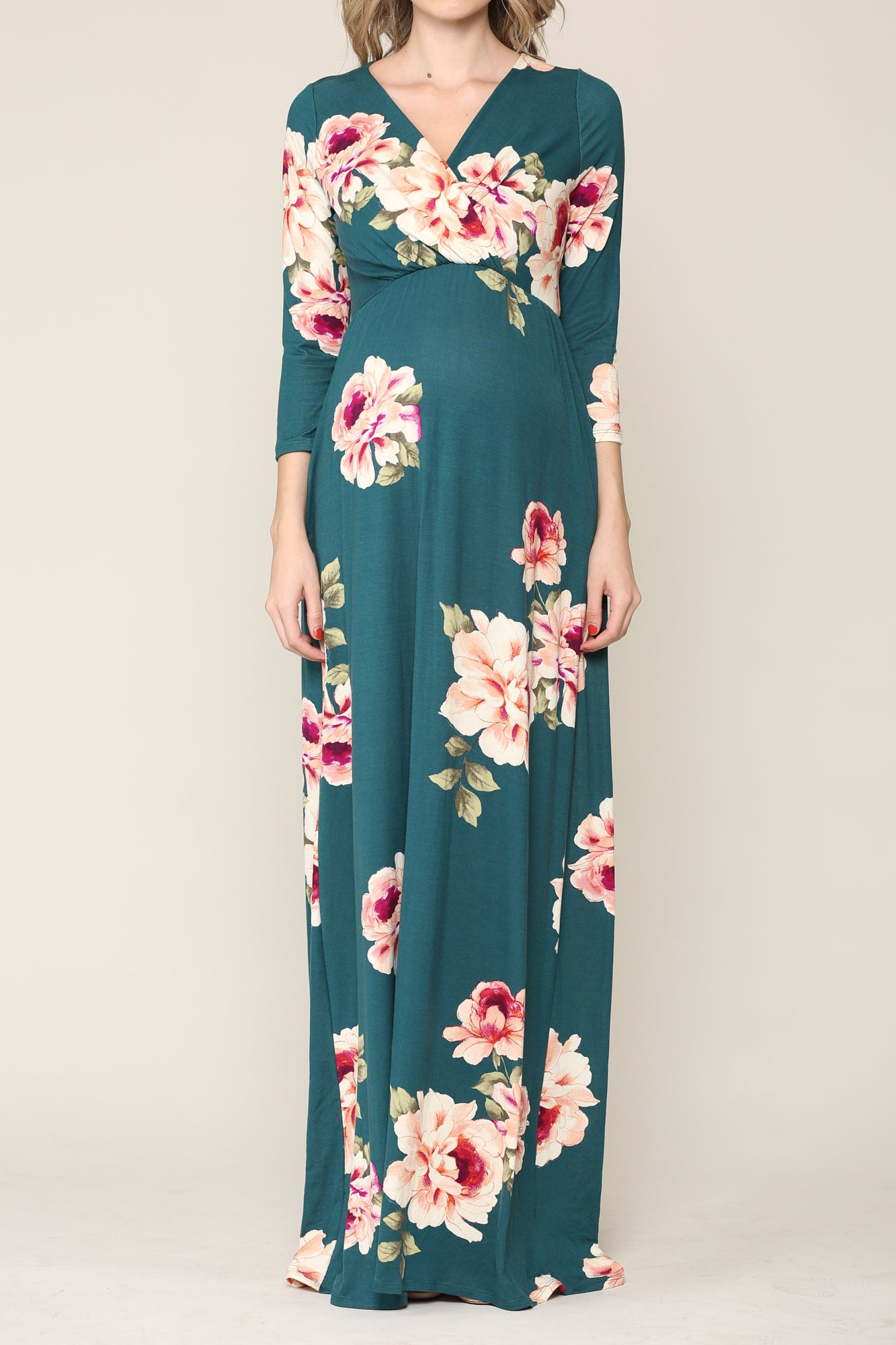 FLORAL 3/4 SLEEVE MATERNITY/NURSING DRESS