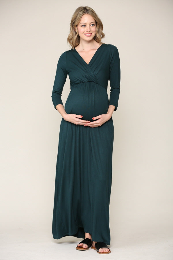 Long Sleeve Maternity/Nursing Maxi Pocket Dress