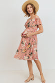 Floral Off Shoulder Maternity Dress
