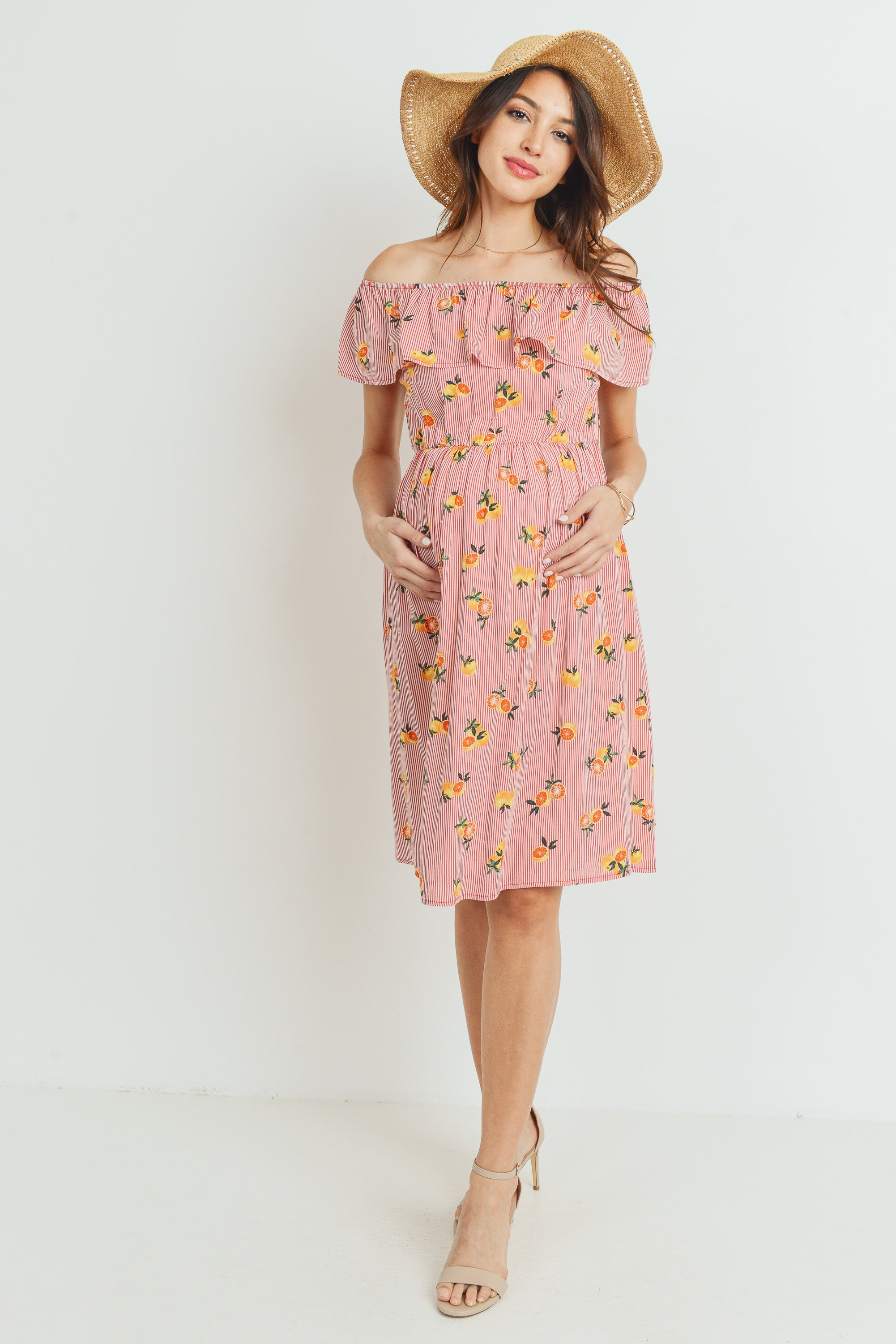 Guava Print Off Shoulder Maternity Dress
