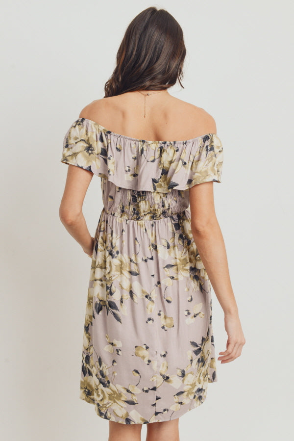 Mauve Floral Off Shoulder Maternity Dress