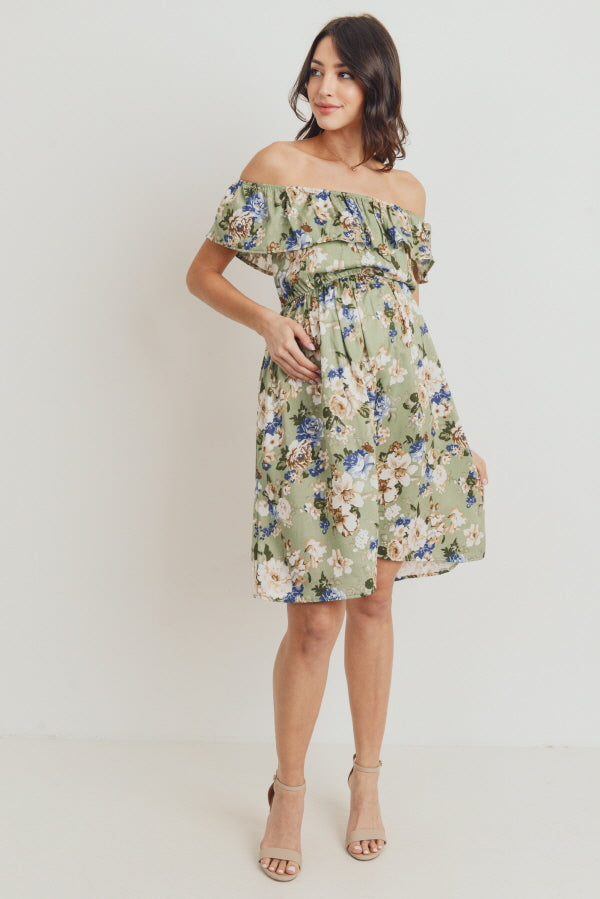 Sage Floral Off Shoulder Maternity Dress