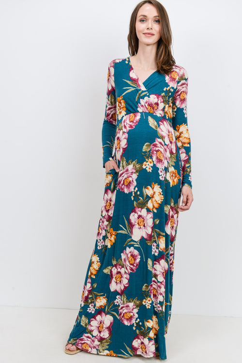 TEAL GREEN Floral Long Sleeve Long Sleeve Maternity/Nursing Maxi Dress