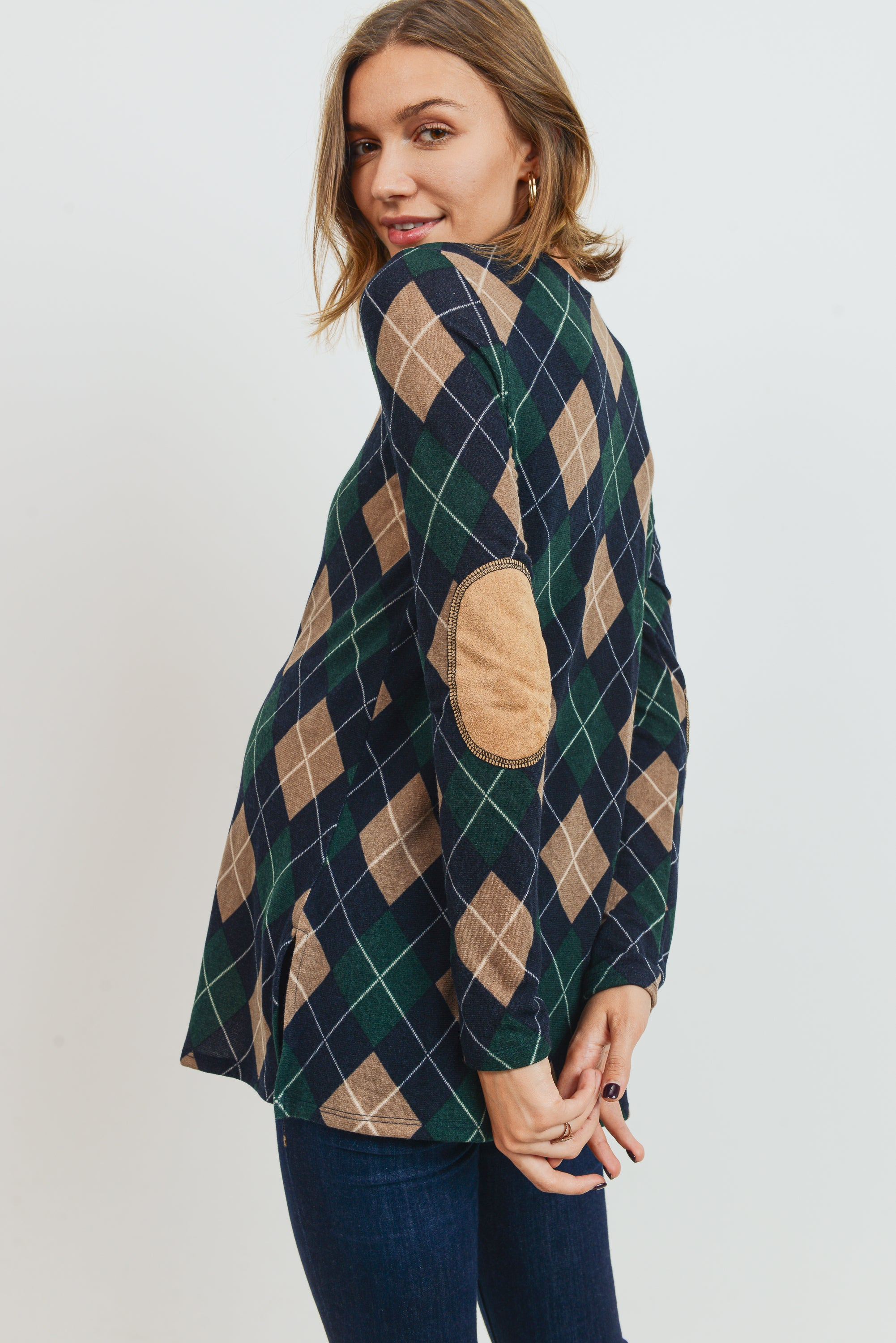 Plaid Tunic Elbow Patch Long Sleeve Maternity Top