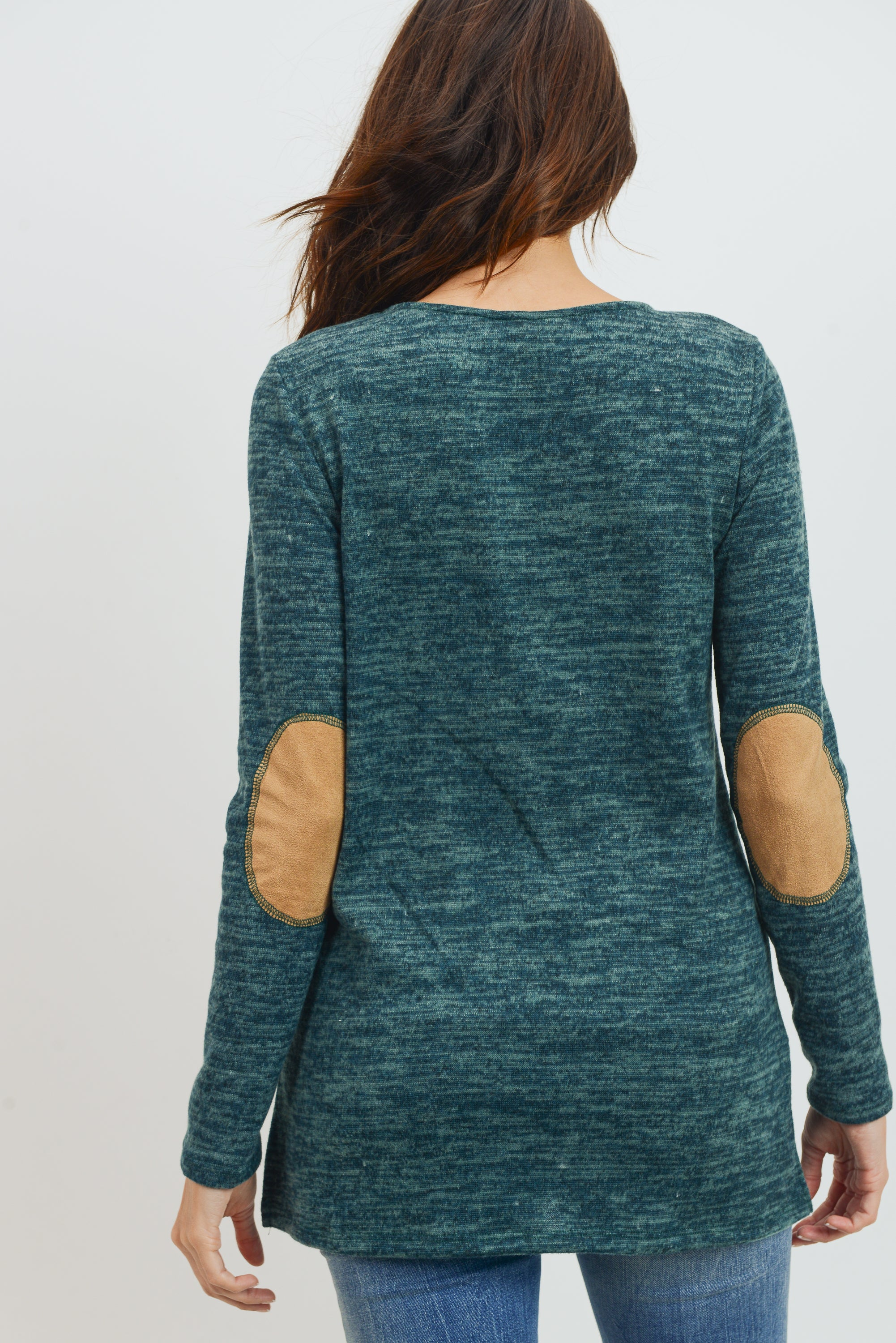 Elbow Patch Tunic Long Sleeve Maternity Top