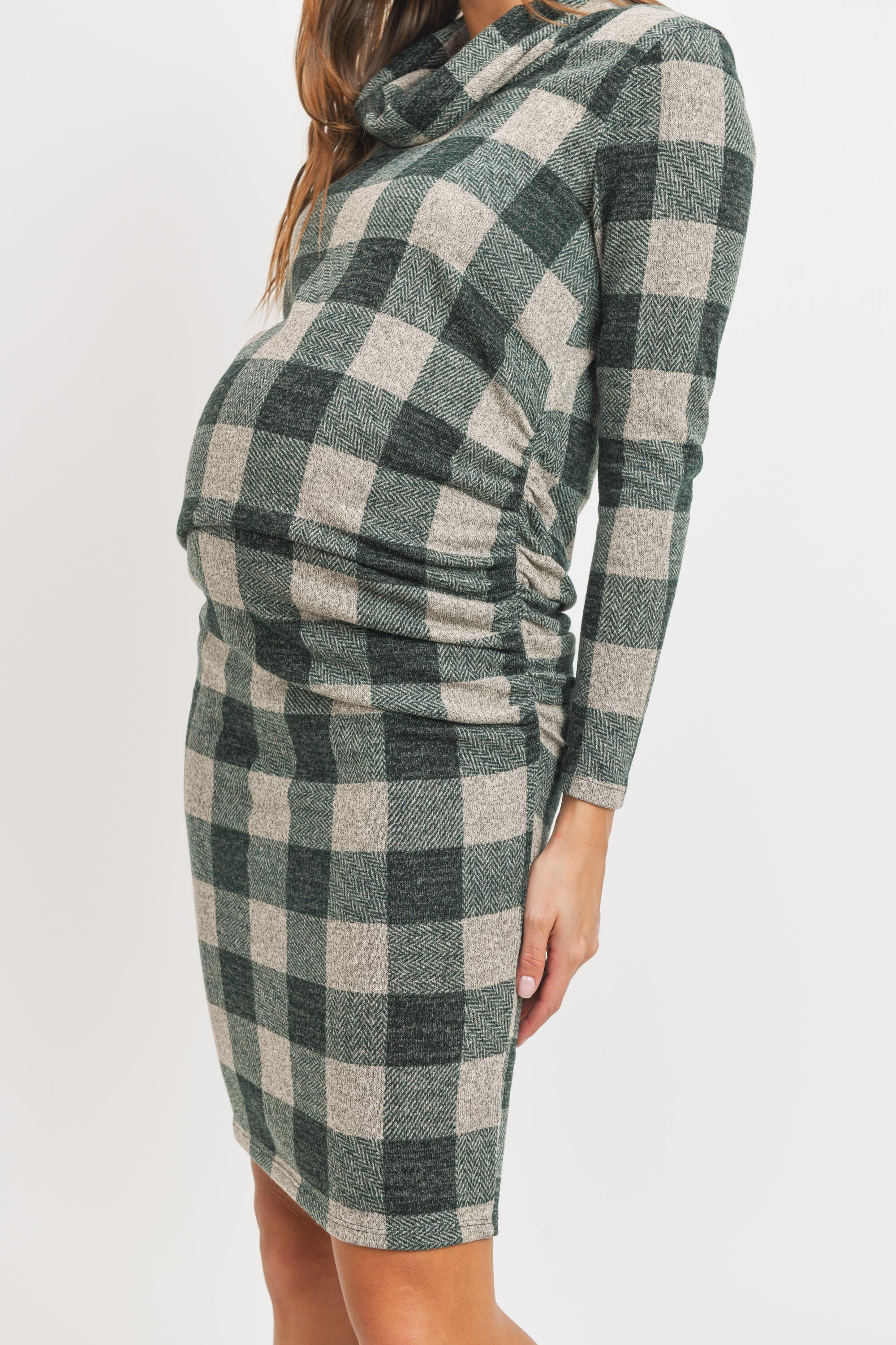 Sweater Knit Maternity Dress - Cowl Neck, Long Sleeve