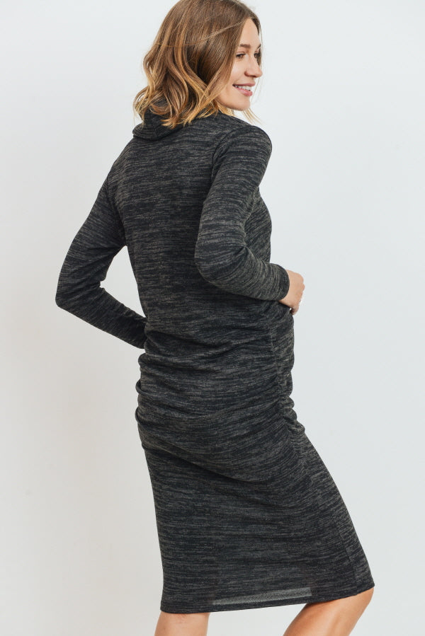 Cowl Neck Long Sleeve Maternity Sweater Dress