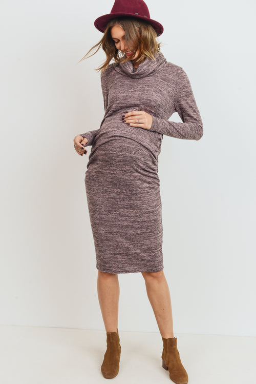 Cowl Neck Long Sleeve Maternity Dress
