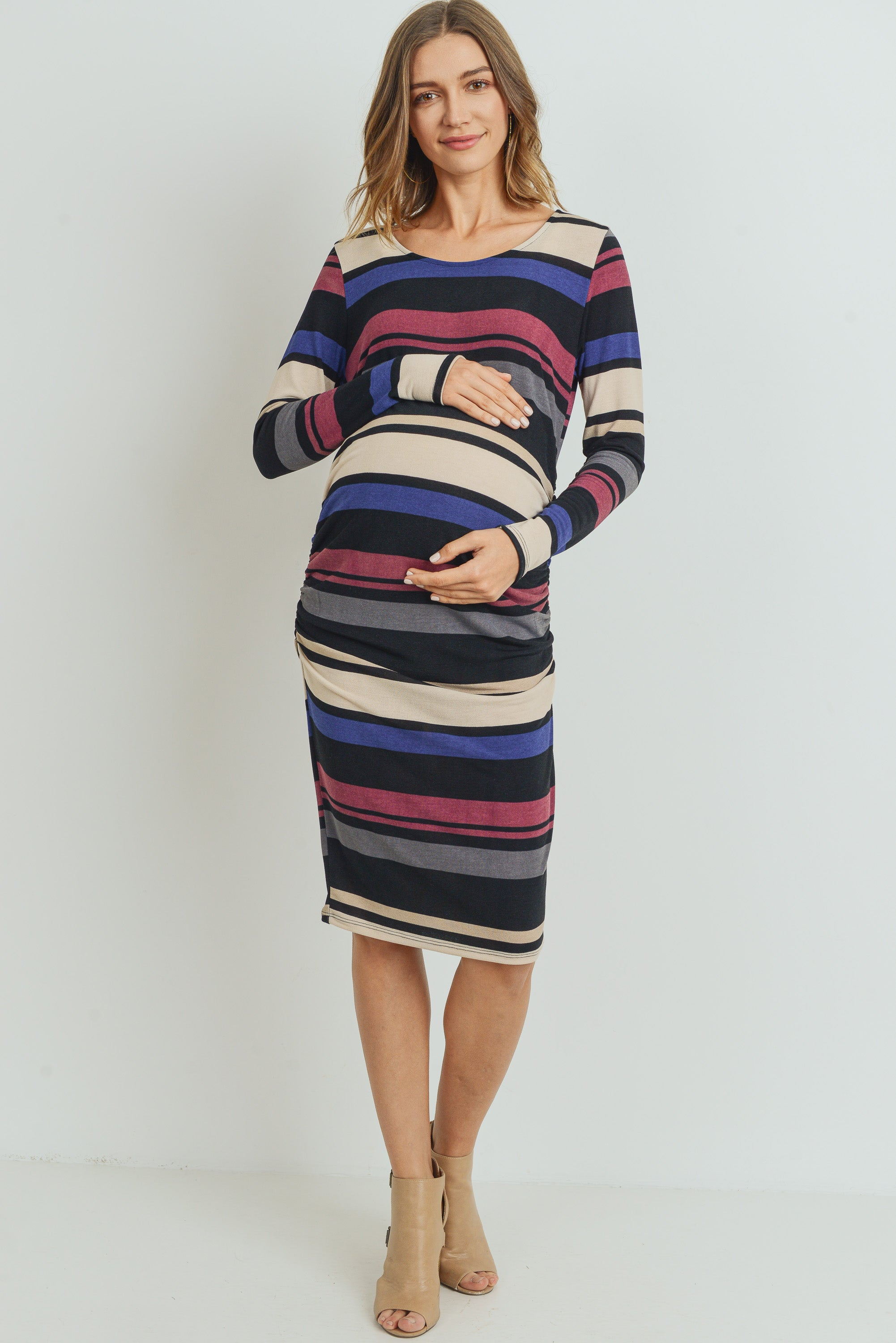 Multi Stripe Sweater Knit LONG Sleeve Maternity Dress