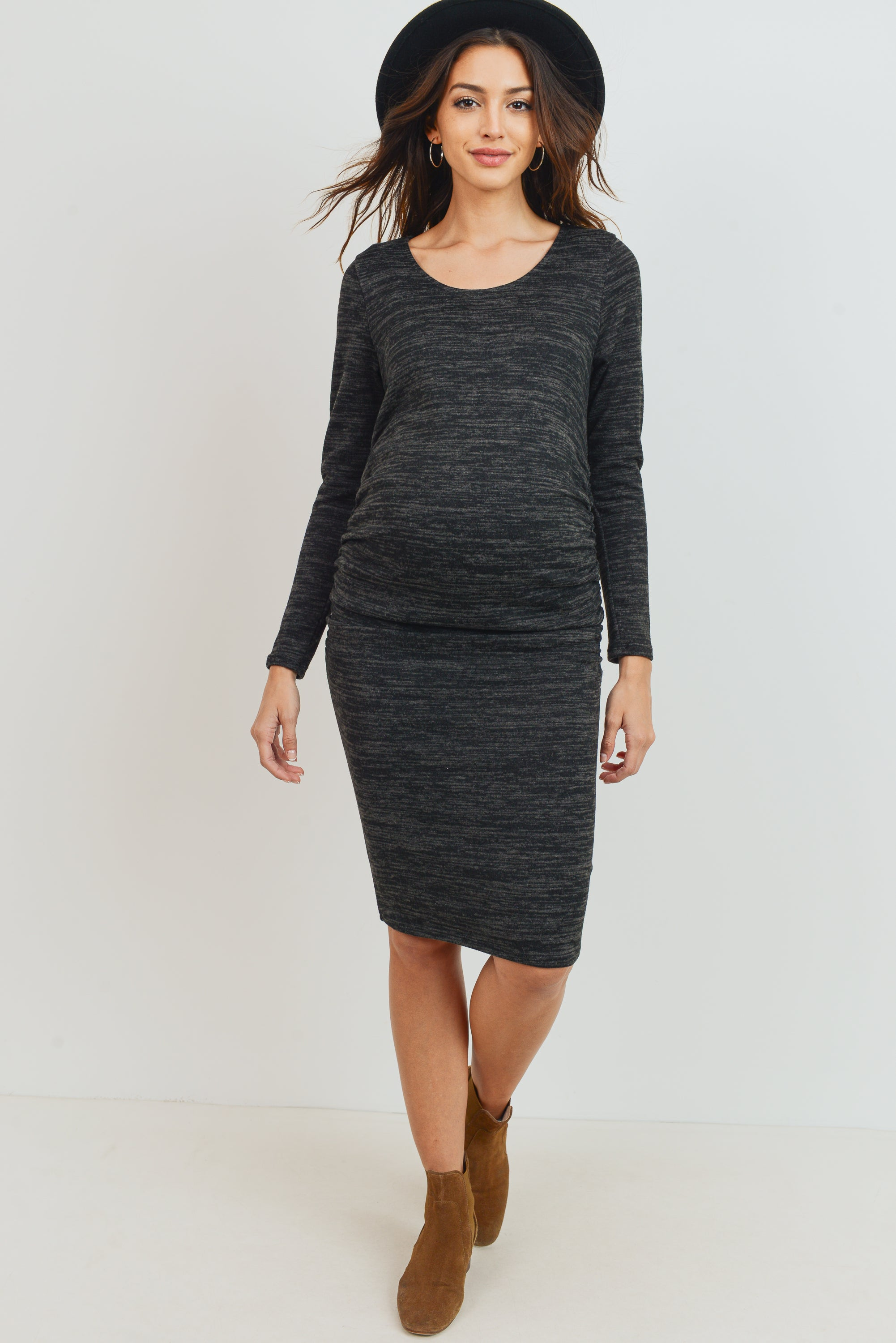 KNIT LONG SLEEVE ROUND NECK MATERNITY DRESS