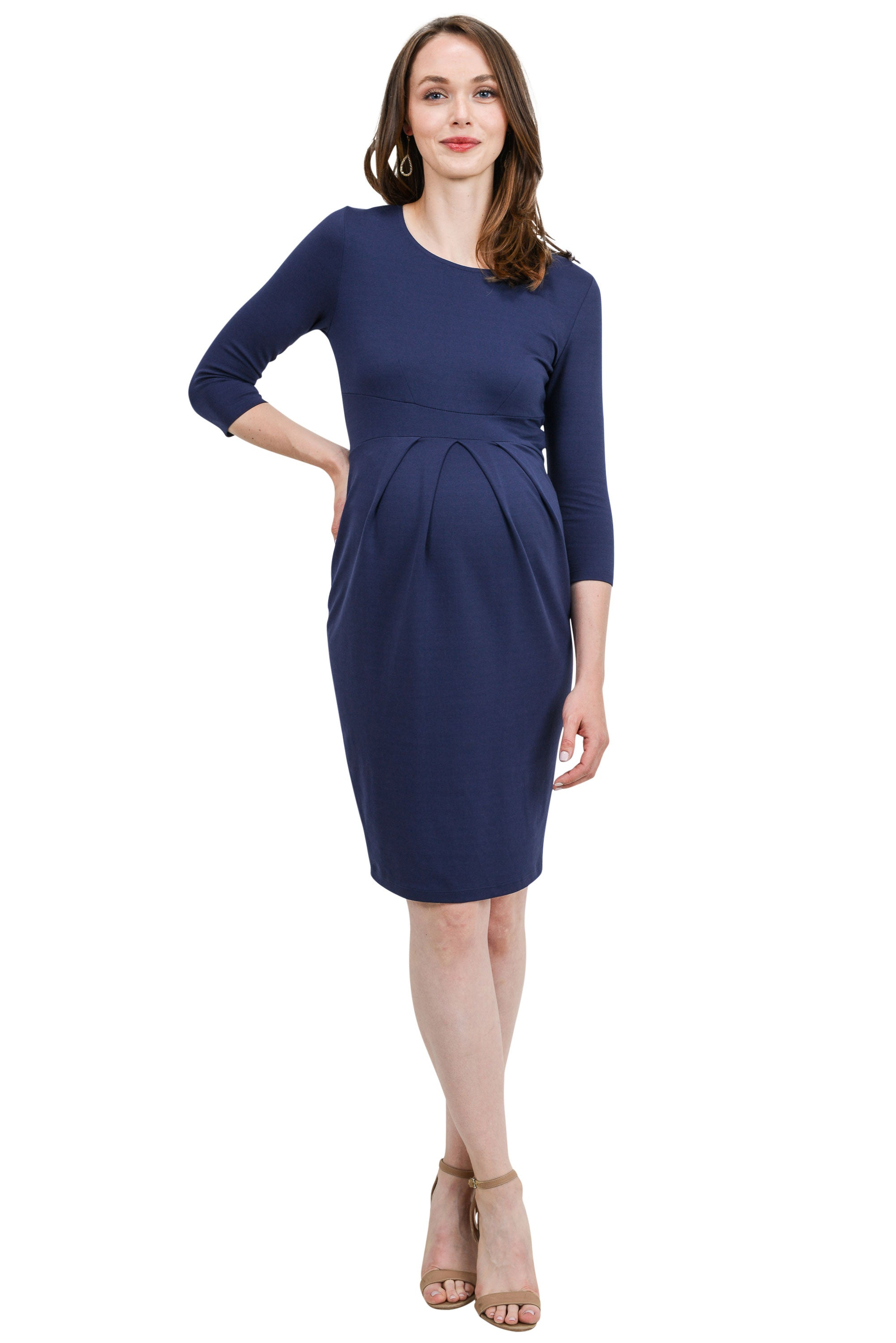 3/4 Sleeve Round Neck Front Pleat Maternity Dress