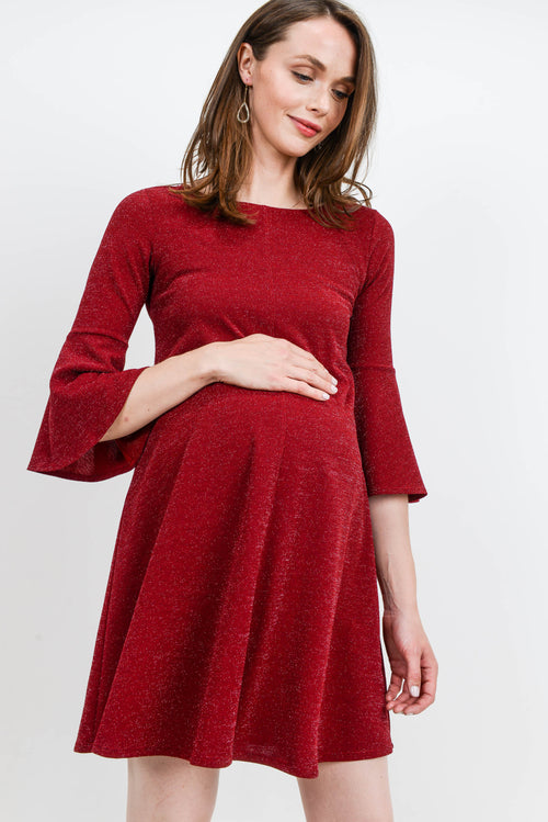 Lurex Bell Sleeve Midi Maternity Dress