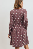 Polka Dot Long Sleeve Knit Maternity Dress with Side Pocket