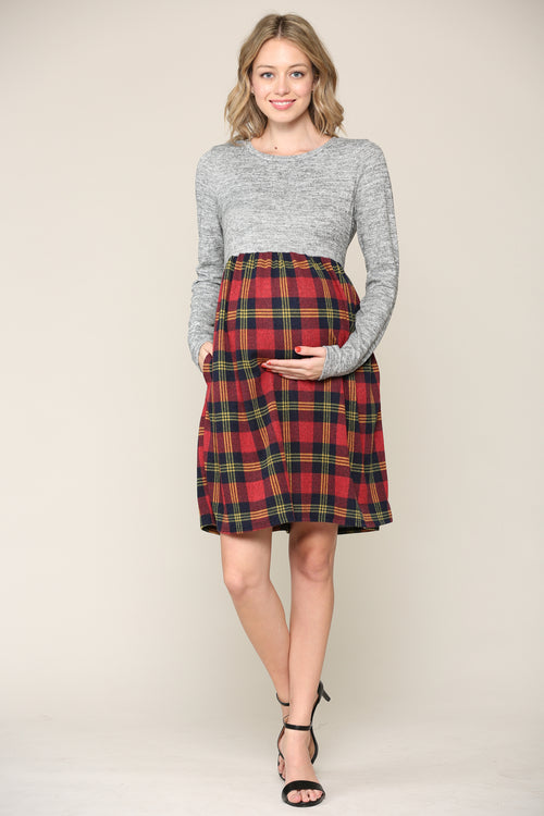 Plaid Long Sleeve Knit Maternity Pocket Dress