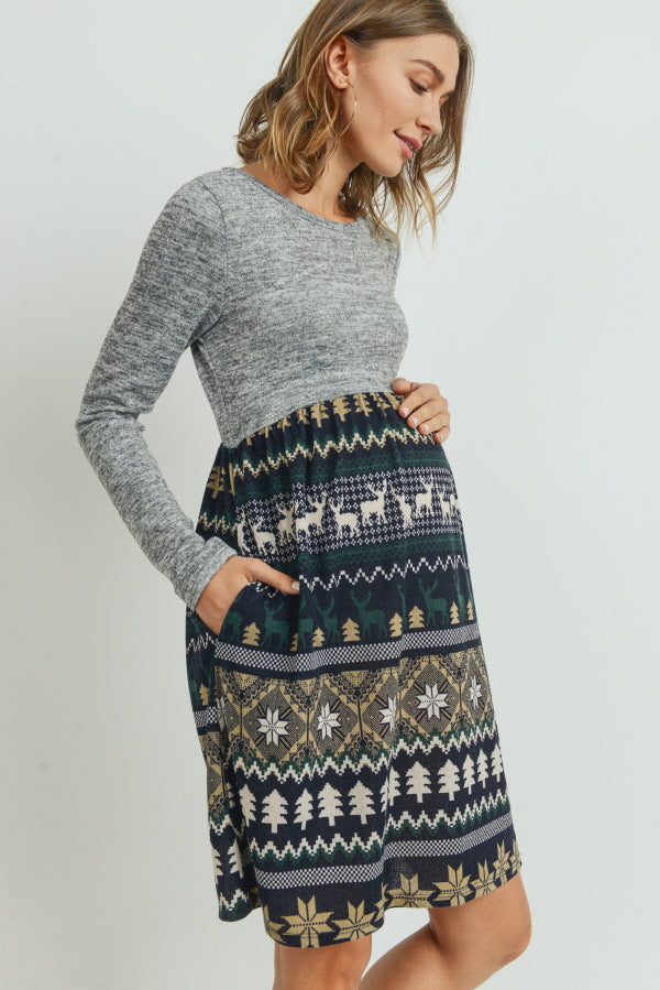 Knit Long Sleeve Maternity Pocket Dress