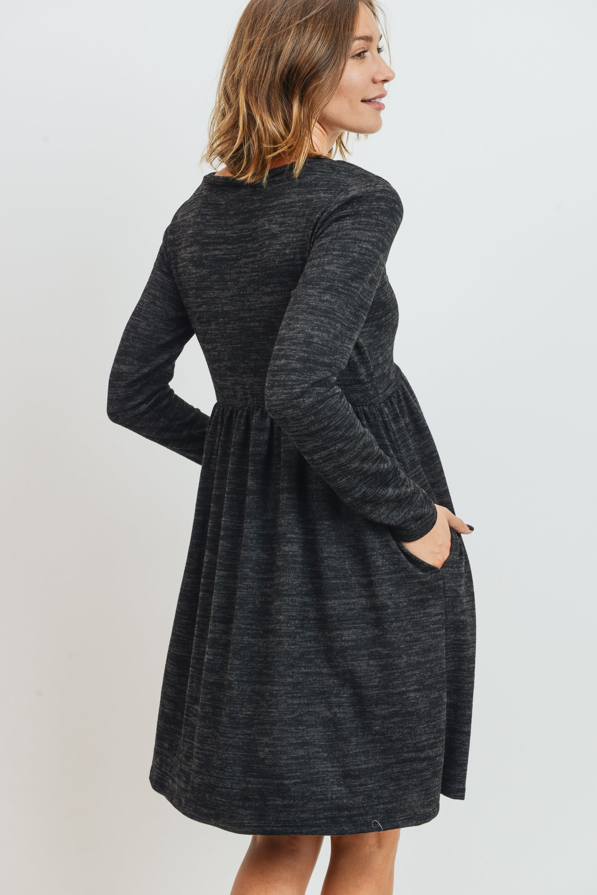 Knit Long Sleeve Front Pleat Side Pocket Maternity Dress