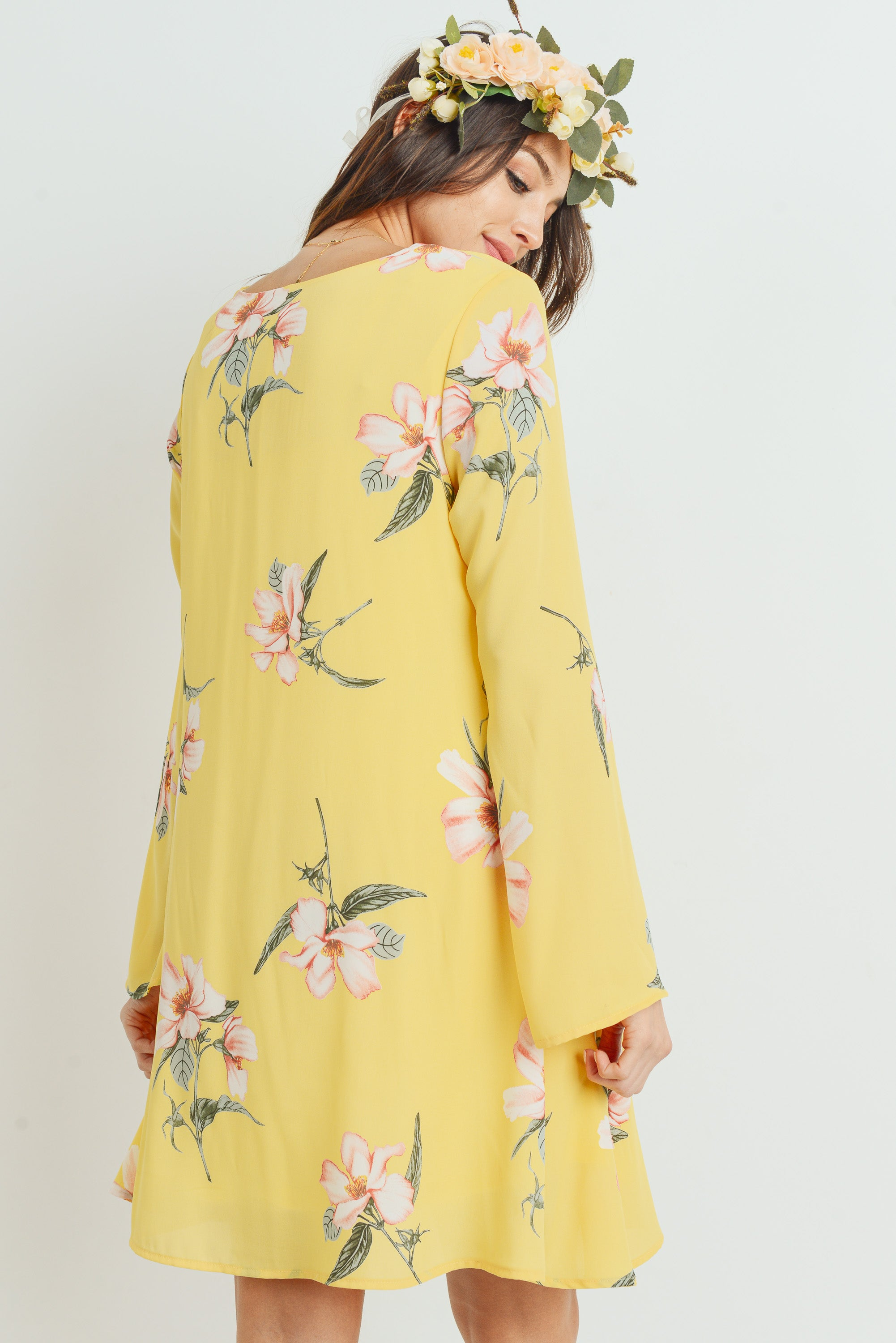 Floral V-Neck Long Sleeve Chiffon Maternity Dress