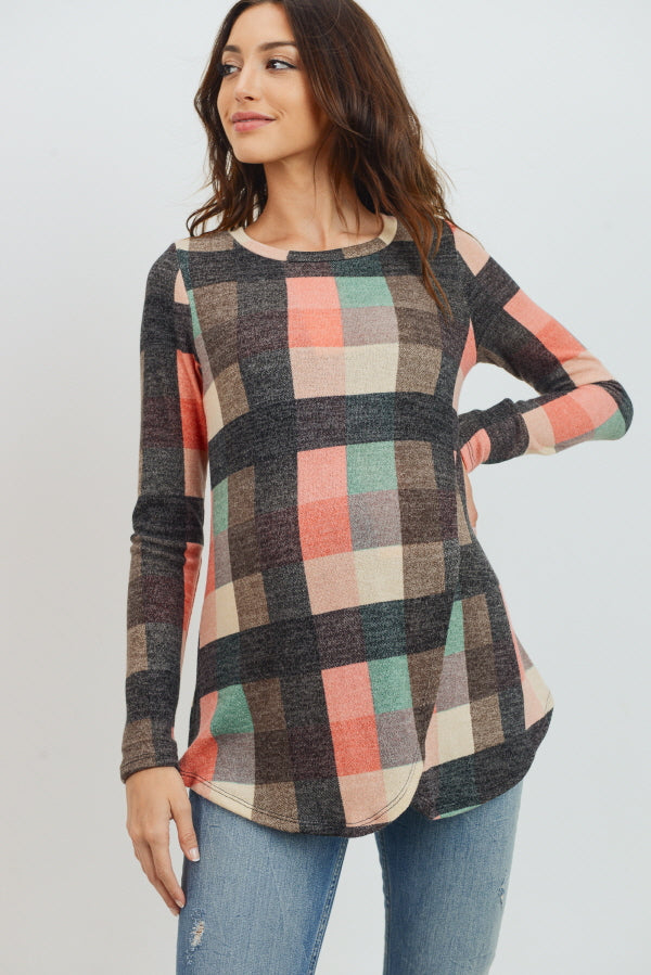 Dark Grey Multi Plaid Maternity Nursing Sweater Tunic Top