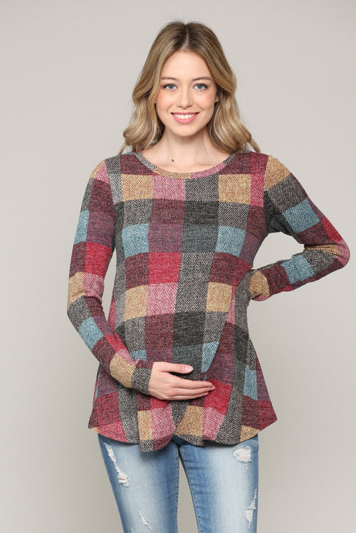 Red Multi Plaid Maternity Nursing Sweater Tunic Top
