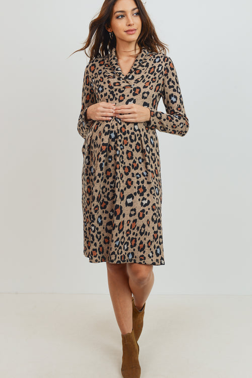 Leopard Empire Waist Long Sleeve Maternity Dress