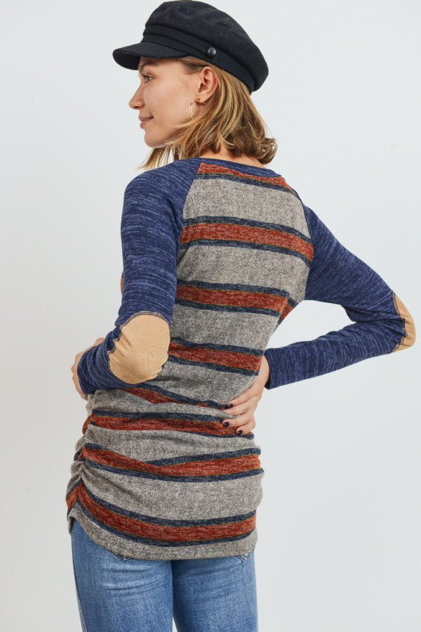 Grey Multi Stripe/Navy Patch Sleeve Maternity Raglan Top