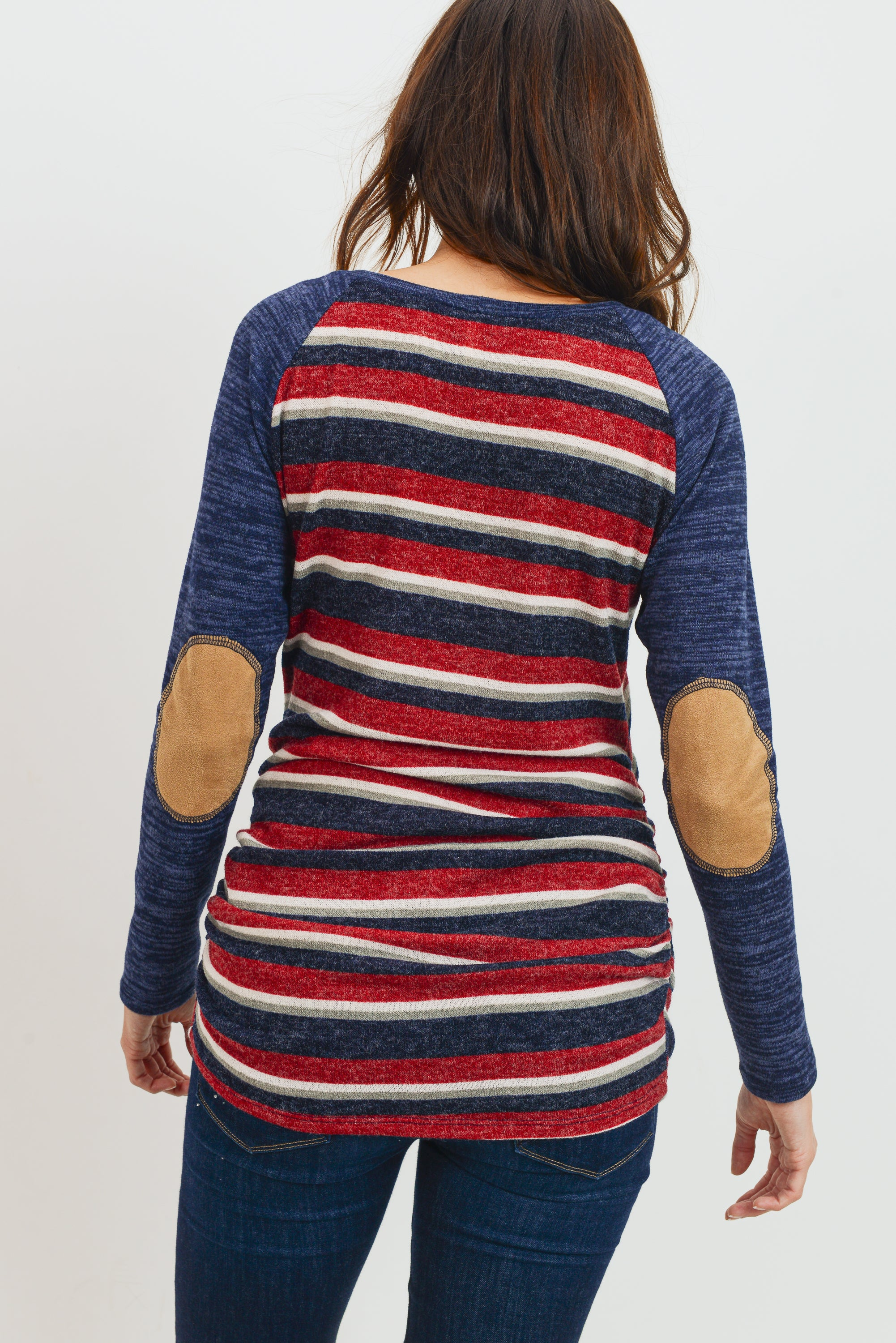 Burgundy Multi Stripe/Navy Patch Sleeve Maternity Raglan Top