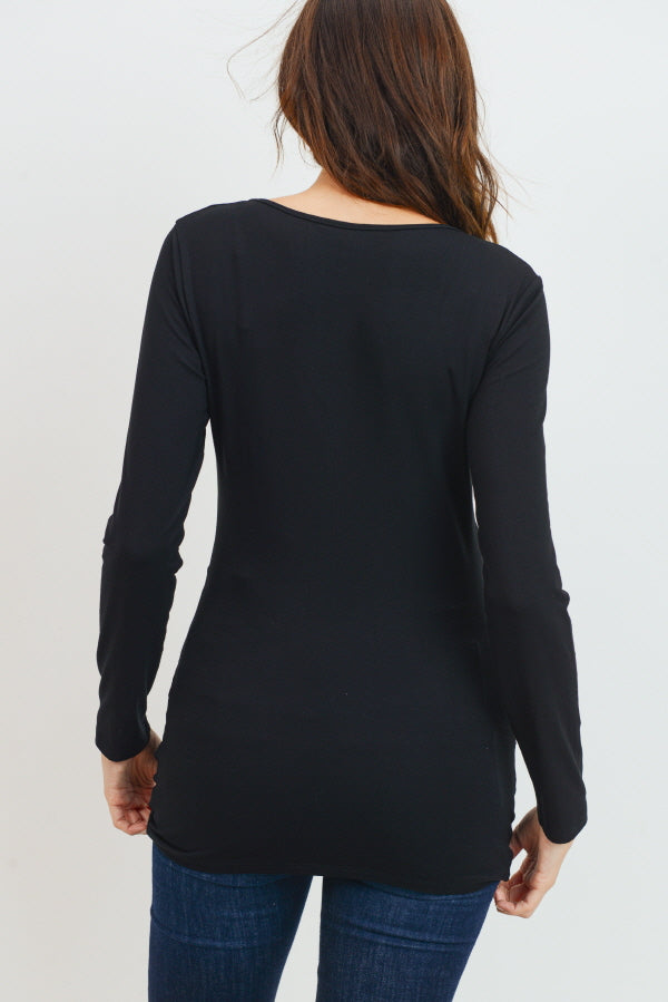 Basic Long Sleeve V-Neck Top