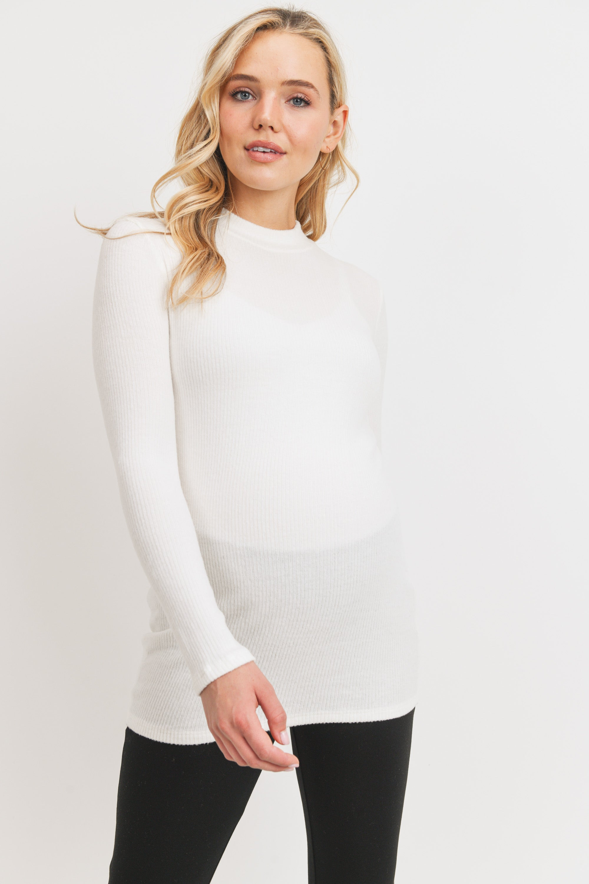 Rib Knit Mock Neck Maternity Top